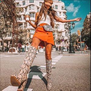 NWT Zara heeled snakeskin print boots sz 6
